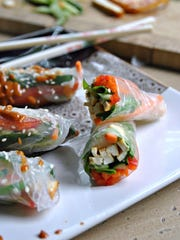 Fresh Vegetable Rolls with Crispy Tofu and Peanut Sauce.