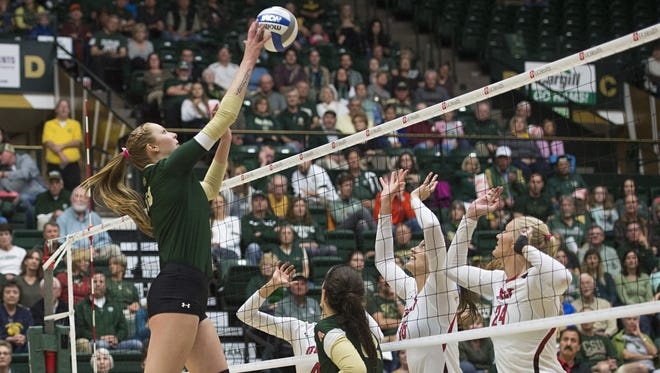 CSU middle blocker Kirstie Hillyer fires an attack in a match earlier this season. Hillyer is the Mountains West's Newcomer of the Year and the Rams open the NCAA tournament at 6 p.m. Friday vs. Kentucky.