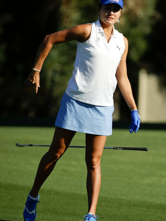 Lexi Thompson reacts to her shot from the fairway on the second hole during the second round of the LPGA Tour ANA Inspiration golf tournament at Mission Hills Country Club, Friday, March 30, 2018, in Rancho Mirage, Calif. (AP Photo/Chris Carlson)