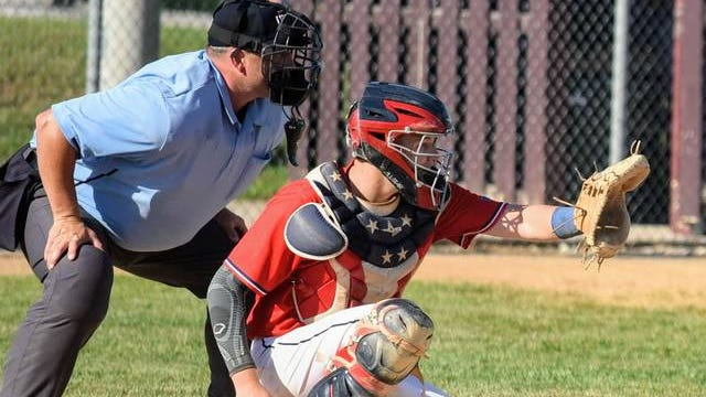 Ballard's Kade Reinertson has emerged as one of the best catchers in Class 3A. Reinertson, a second-team all-state performer for a 25-9 Ballard team in 2019, is looking to keep the Bombers playing at a high level in his senior year this summer before heading off to play Division 1 ball at Valparaiso. File photo by Joe Randleman/Ames Tribune.