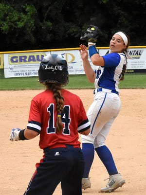 Second Baseman Taylar Lorenzen bags an out for Highlands and holds the ruuner at First Base at the KHSAA 9th Region Softball Sem-Final, May 29, 2018.