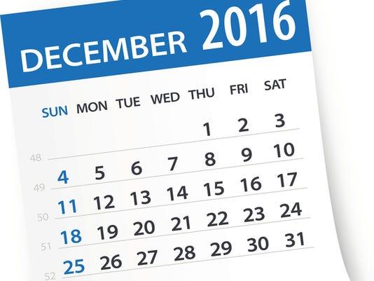 December 2016 calendar leaf - Illustration