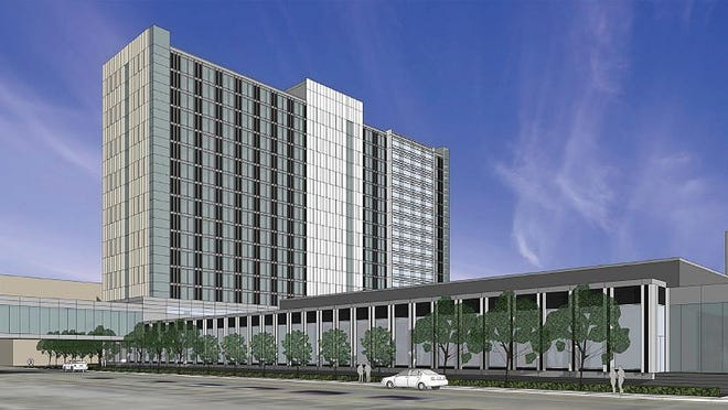 A rendering of the proposed $128.4 million convention hotel project in downtown Des Moines. City of Des Moines/Special to the Register. A rendering of the proposed $130 million convention hotel in downtown Des Moines.