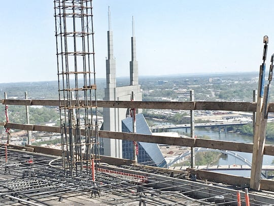 A view from the top of 505 also showing the twin spires