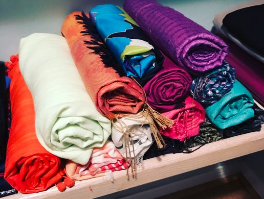 Rolling up scarves and pashminas is the most efficient