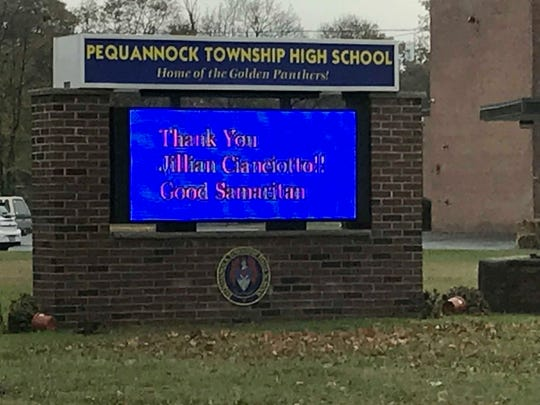 A sign outside Pequannock Township High School lauds