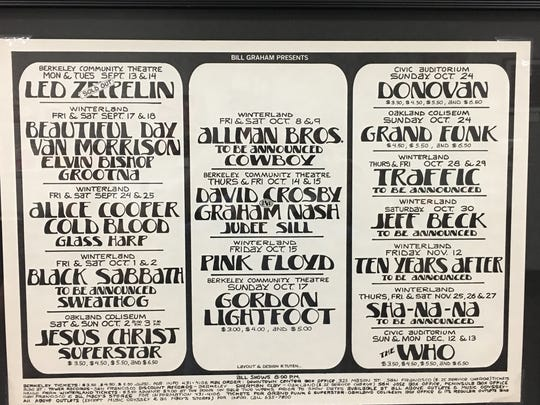 "A 1971 ""Bill Graham Presents"" poster promoting upcoming"