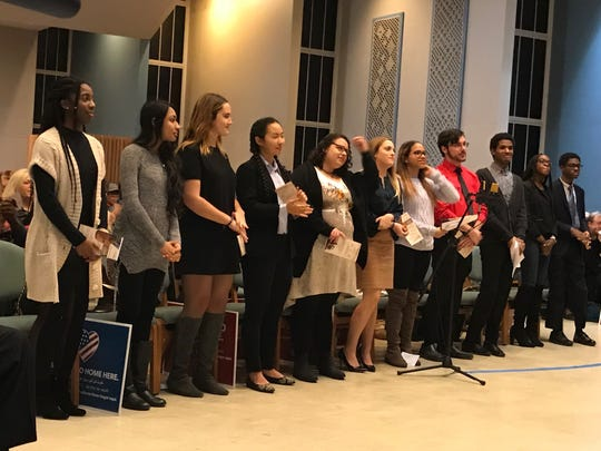 Student merit award winners selected by the MLK Birthday Committee. Students selected from various Bergen County high schools.
