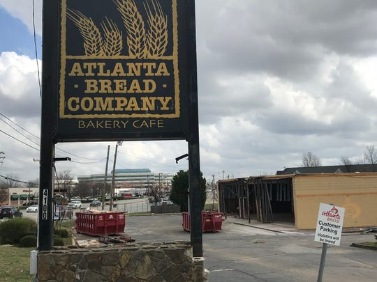 The site of a former Atlanta Bread Company restaurant on Pelham Road is undergoing construction.