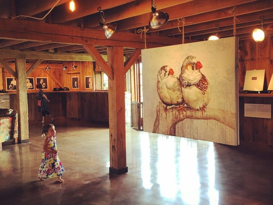 The barn, built in the 1870s that we are restoring, functions as the art gallery.