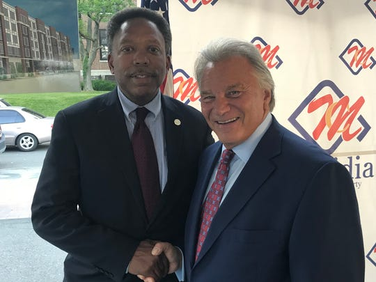 Linden Mayor Derek Armstead, left, is pictured with George Capodagli of Linden-based Capodagli Development Co. at the May 24 groundbreaking of the Meridia Lifestyles II apartment complex.