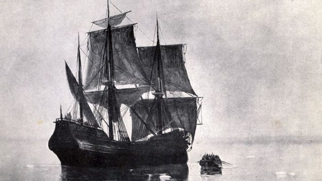 A depiction of the Mayflower and landng party.