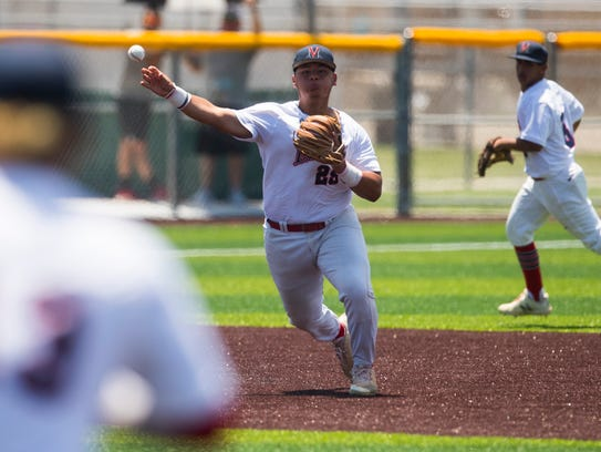 Veterans Memorial's Jesus Rodriguez  throws out a Boerne