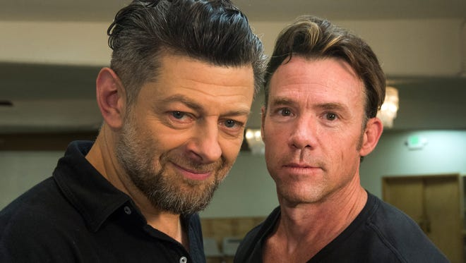 Monkey Men: Andy Serkis, left, and Terry Notary lead a team of motion capture actors in the upcoming movie 'Dawn of the Planet of the Apes.'