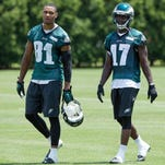 Philadelphia Eagles wide receivers Jordan Matthews and Nelson Agholor during minicamp at the NovaCare Complex.