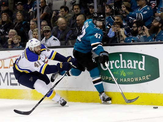 San Jose Sharks' Joakim Ryan (47) is defended by St. Louis Blues' Robert Bortuzzo (41) during the first period of an NHL hockey game Thursday, March 8, 2018, in San Jose, Calif. (AP Photo/Marcio Jose Sanchez)