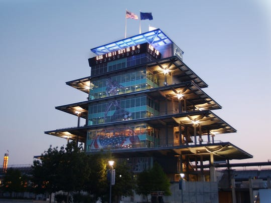 The lights in the Pagoda still burning late into the night after the 90th running of the Indianapolis 500 at The Indianapolis Motor Speedway, May 28th 2006.