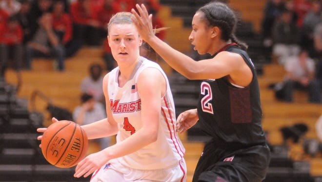 Marist College's Allie Clement, left, takes the ball down court as Temple University's Feyonda Fitzgerald, right, defends.