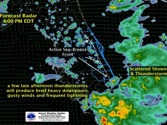 Thunderstorms this afternoon could produce brief but