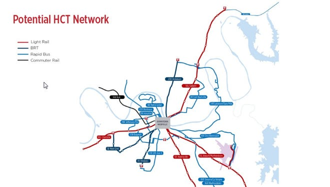 The nMotion regional plan details five rail lines, including one on Gallatin Pike, as part of a larger high-capacity transit network.