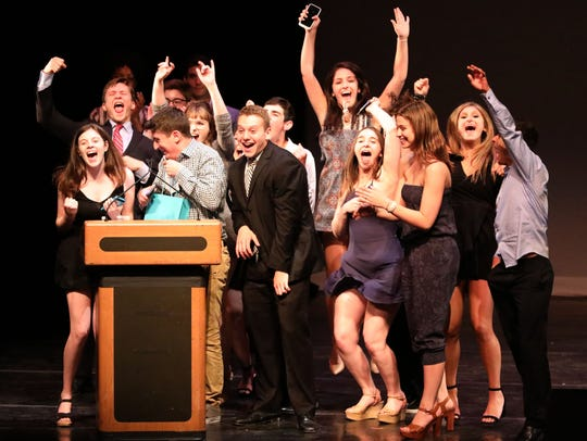 """Members of the cast of """"Shrek the Musical"""" at Blind Brook High School celebrate their Metro Award victory for featured ensemble group at the 20th annual Metro Awards at Performing Arts Center at Purchase College on June 11, 2018. The nominees for the 2019 Metros will be announced at 7 p.m. May 14, live on lohud.com."""