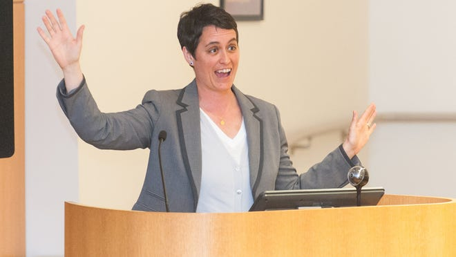 Former Maryland Delegate Heather Mizeur speaks to Salisbury University students and Wicomico locals on the LGBTQ National Day of Silence on Monday evening at Salisbury University.