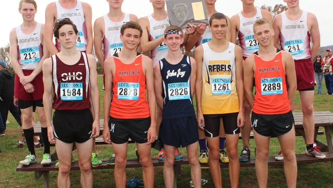 Section 1 Cross Country Championships held at Bodwoin Park in Wappingers Falls, N.Y. on Saturday, Nov. 7, 2015.  Here the Class A Boys run their race in which Greg Crowley (#1984) of Scarsdale won the race.  The team in first place was Arlington.