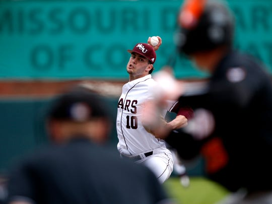 Missouri State starting pitcher Dylan Coleman delivers a pitch to the plate during a game against the Oregon State Beavers at Hammons Field on Friday, April 13, 2018.