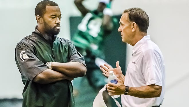 Recruiting coordinator Curtis Blackwell and Mark Dantonio got a jump start on the 2017 class with Hunter Rison's Saturday verbal.