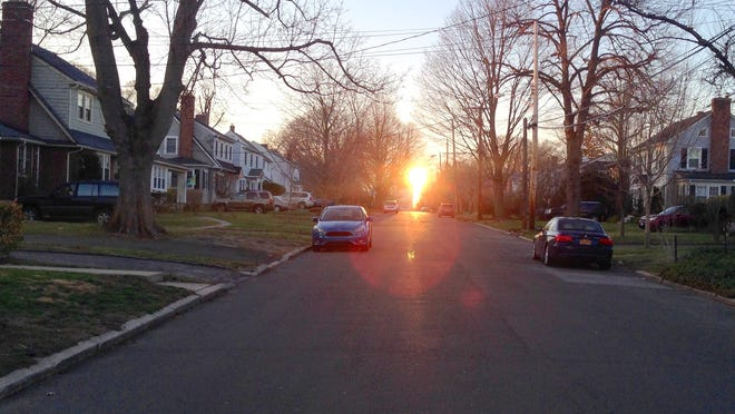 Evening glare from Longview Avenue in White Plains, seen April 11.