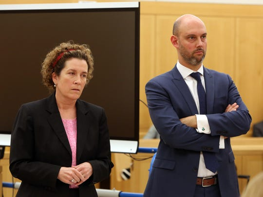 Assistant District attorney Christine O'Connor and Daniel Flecha on the first day of trial for Hengjun Chao for trying to kill his former boss, Dr. Dennis Charney, at Lange's in Chappaqua last summer, June 5, 2017 at Westchester County Courthouse in White Plains.