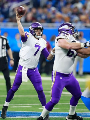 Minnesota Vikings quarterback Case Keenum (7) throws a pass during an NFL football game against the Detroit Lions, Thursday, Nov. 23, 2017, in Detroit. The Vikings won the game 30-23.