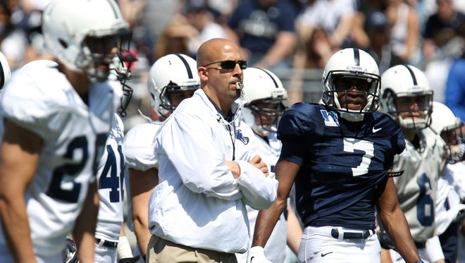 Penn State Nittany Lions head coach James Franklin looks on during a warmup prior to the Blue White spring game at Beaver Stadium. The Blue team defeated the White team 37-0.