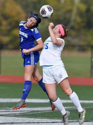 Memorial's Laurie Hargis broke an Indiana girls' soccer state finals single-game record with three assists in the Tigers' 3-1 win over South Bend St. Joseph.