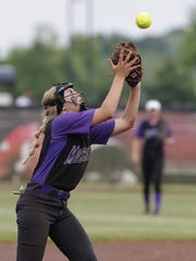 Mosinee's Brooke Wierzbanowski catches a pop-up against Mosinee in the WIAA Division 2 state championship game Saturday at Goodman Diamond in Madison.