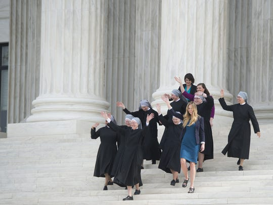 Nuns from the Little Sisters of the Poor leave the Supreme Court in March 2016 following oral arguments in seven cases dealing with religious organizations that want to ban contraceptives from their health insurance policies on religious grounds.