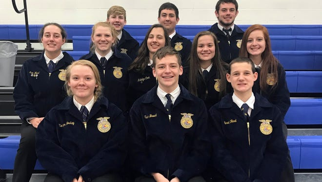 Pictured at District Convention are, in front: Kamryn Hoskey, Zach Brecht and Jared Ward. In the middle row are Sam Ward, Dani Montgomery, Katelyn Cook, Tori Hlas and Makayla Miller. In back are Carson Adams, John Reekers and Ethan Allie.