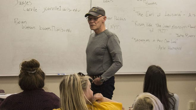 Political consultant James Carville teaches students in his first mass communication class at LSU.