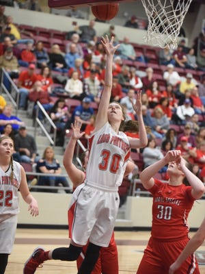 Norfork's Marleigh Dodson goes up for two against Rural Special in the second round of the Class A State Tournament on Tuesday at Morrilton.