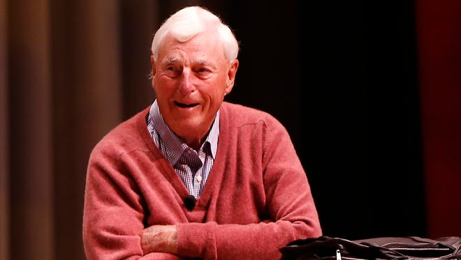 """Former Indiana basketball coach Bobby Knight laughs as he and former Purdue coach Gene Keady share memories during """"An Afternoon with Coach Gene Keady and Coach Boy Knight"""" Sunday, October 29, 2017, at Elliott Hall of Music. Hall of Fame sports writer Bob Hammel moderated the program as the two legendary coaches delighted the audience with stories from their great rivalry."""
