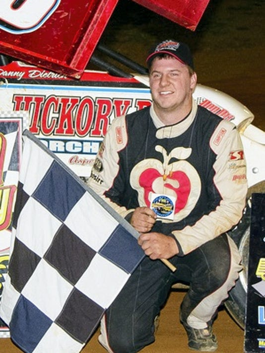 Danny Dietrich, shown above after winning an earlier race at Lincoln Speedway, was the winner at Saturday night's 33rd annual Jim Nace Memorial National Open race for 410 sprints at Selinsgrove Speedway.