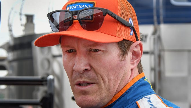 Chip Ganassi Racing IndyCar driver Scott Dixon (9) following his run qualification day for the Indianapolis 500 at the Indianapolis Motor Speedway on Saturday, May 19, 2018.
