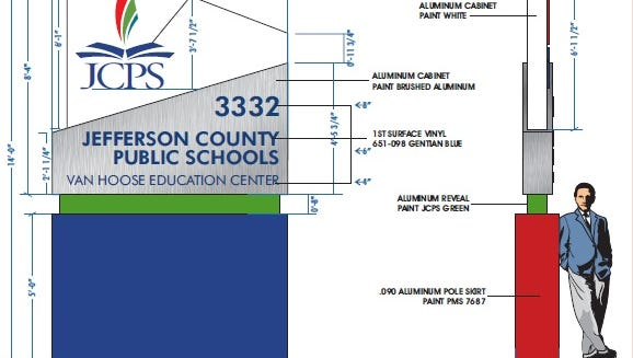 Rendering of the new sign in front of JCPS headquarters