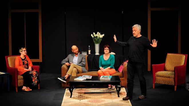 "Michael Swanson (from right), Pamela Bilderbeck, Jeff Sanders and Erika Zuelke perform in ""God of Carnage,"" which plays at Pentacle Theatre through June 20."