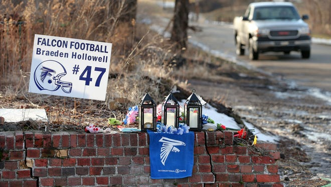 A memorial honors the life of North Vermillion High School football player Braeden Hollowell after he and two other girls from Muncie died in an accident where driver and best friend Ethan Lee survived on Jan. 2, 2015. On Saturday, Feb. 7, 2015, the school retired the jersey of Hollowell between the third and fourth periods of the basketball game against North Central High School.