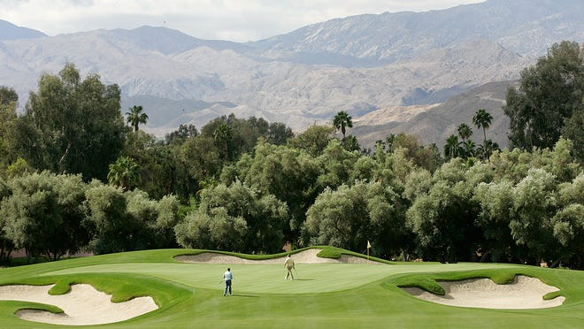 A file photo of the first-hole green of the Sunnylands estate golf course from May, 2013. President Obama golfed Saturday on the Sunnylands course in Rancho Mirage after arriving in the Coachella Valley earlier in the day.