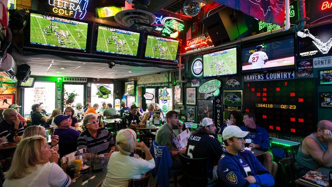 With multiple locals teams playing, the Greene Turtle in North Ocean City is packed with fans to watch.