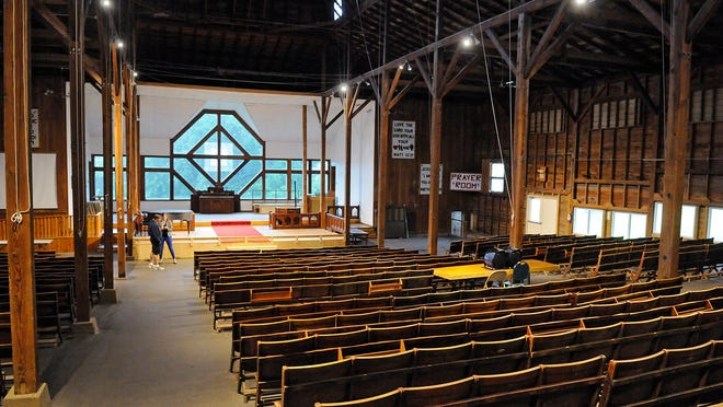 The tabernacle on Lake Koronis was built in 1922. It will be replaced with a new facility, which will feature windows in the same shape as the standing ones.