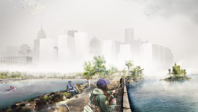 Rendering by the firm Michael Van Valkenburgh Associates shows a possible future design for the planned 22-acre west riverfront park in Detroit. Proposals were unveiled to the public on Feb. 8, 2018. A winning proposal will be chosen in the spring.