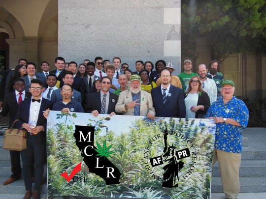 "Americans for Policy Reform gather Monday on the Capitol steps after filing the ""'Marijuana Control, Legalization and Revenue Act of 2016."""